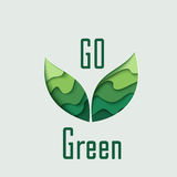 Go Green paper cut leaves Stock Images
