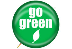 Go Green Pin. Graphic of Go Green pin promoting, environmentally friendly actions and products Stock Photo