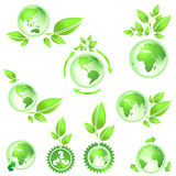 Go green, planet earth maps Stock Images