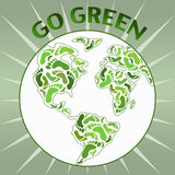 Go green planet. Globe with green footprints on the continents and appeal to Go Green Stock Image