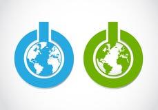 Go green power button Stock Image
