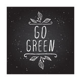 Go green - product label on chalkboard Royalty Free Stock Photo