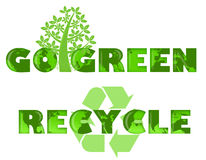 Go Green Recycle Logo with World Map. Go Green and Recycle Logo with World Map Illustration Royalty Free Stock Images