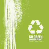 Go Green Recycle Reduce Reuse Eco Poster Concept. Vector Creative Organic illustration on green background. Save our planet Royalty Free Stock Images