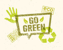 Go Green Recycle Reduce Reuse Eco Poster Concept. Vector Creative Organic Illustration On Rough Background Stock Photos