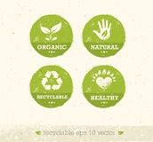 Go Green Recycle Reduce Reuse Eco Poster Concept. Vector Creative Organic Illustration On Rough Background Stock Images
