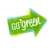 Go Green Recycle Reduce Reuse Eco Poster Concept. Vector Creative Organic Illustration On Rough Background Royalty Free Stock Photos