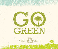 Go Green Recycle Reduce Reuse Eco Poster Concept. Vector Creative Organic Illustration On Rough Background Stock Photography