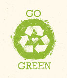 Go Green Recycle Reduce Reuse Eco Poster Concept. Vector Creative Organic Illustration On Rough Background.  Stock Photos