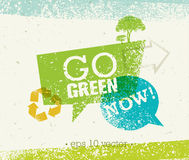 Go Green Recycle Reduce Reuse Eco Poster Concept. Vector Creative Organic Illustration On Rough Background.  Royalty Free Stock Image