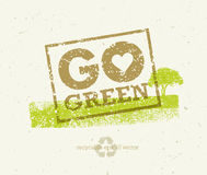 Go Green Recycle Reduce Reuse Eco Poster Concept. Vector Creative Organic Illustration On Rough Background Stock Image