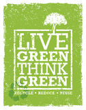Go Green Recycle Reduce Reuse Eco Poster Concept. Vector Creative Organic Illustration On Rough Background.  Stock Photography