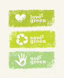 Go Green Recycle Reduce Reuse Eco Poster Concept. Vector Creative Organic Illustration On Rough Background.  Royalty Free Stock Photos