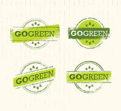 Go Green Recycle Reduce Reuse Eco Stamp Concept Set. Vector Creative Organic Illustration On Paper Background. Stock Photo