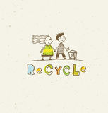 Go Green Recycle Reduce Reuse. Sustainable Eco Vector Concept on Recycled Paper Background. Stock Photos