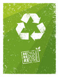 Go Green Recycle Reduce Reuse. Sustainable Eco Vector Concept on Recycled Paper Background. Royalty Free Stock Photos