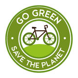 go green save the planet bike icon sticker Stock Photo