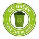 Go green save the planet icon recycle Royalty Free Stock Image