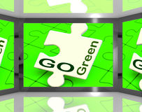 Go Green On Screen Showing Protecting The Planet Royalty Free Stock Photo