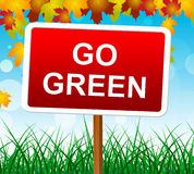 Go Green Shows Earth Friendly And Eco-Friendly Royalty Free Stock Photos