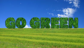 Go Green sign over fresh grass. Textured go green sign over fresh grass and blue sky background Stock Photo