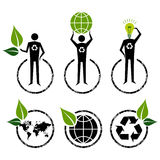 Go Green signs ideas. Go Green people symbol ideas Royalty Free Stock Image