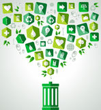 Go green splash recycle bin Royalty Free Stock Images