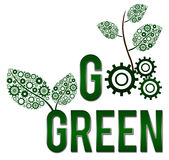 Go Green Square. Image with text Go Green with green gear elements royalty free illustration
