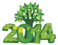 2014 Go Green with Symbols and Tree Illustration Royalty Free Stock Image