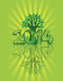 2014 Go Green with Symbols and Tree Sunray Backgro. 2014 New Year Numerals Go Green Symbols with Tree on Sunray with Reflection Background Illustration stock illustration