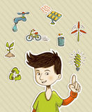 Go green teenager shows eco friendly icons Stock Photo