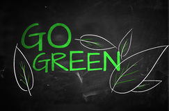 Go Green Text on blackboard Stock Photography