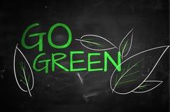 Go Green Text on blackboard. Digital Drawing Stock Photography