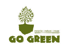 Go Green. Tree logo concept design. Logo concept design with a tree. Go Green. Recycle reduce reuse. Vector illustration isolated on white background Stock Images