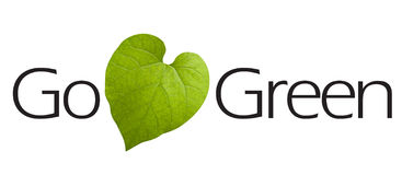 Go Green Type. With green leaf symbol Royalty Free Stock Photography