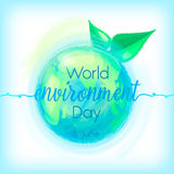 Go Green, vector illustration of mother earth globe, sign and green leaves, background for World Environment Day. Stock Photography