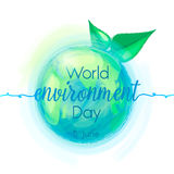 Go Green, vector illustration of mother earth globe, sign and green leaves, background for World Environment Day. Stock Photo