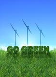 Go Green wind energy sign vector illustration