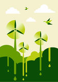 Go Green wind-turbine park stock images