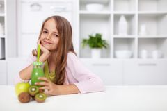 Free Go Green With Your Diet - Healthy Happy Teenage Girl With Fresh Squeezed Green Fruit Juice Royalty Free Stock Photos - 165233198
