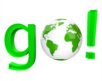 Go - Green Word and White Globe. A white globe replaces the O in the green word go Royalty Free Stock Photos