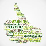 Go Green words cloud about ecology in hand Stock Photography