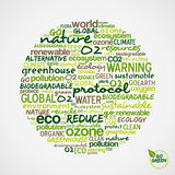 Go Green. Words about environmental conservation. Go Green. Words cloud about environmental conservation in circle shape. Vector file available stock illustration