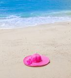 Go holiday with pink hat Royalty Free Stock Images