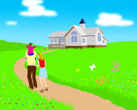 Go home. In having the background of lawn house stock illustration