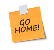 Go home adhesive note Stock Photography
