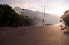 Go home. Nice street from Cam Ranh to Nha Trang City of Vietnam Stock Photo