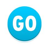 Go icon blue button Stock Images