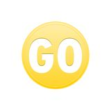 Go icon gold button Stock Images