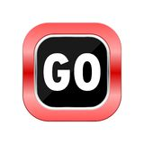 Go icon red button Stock Image